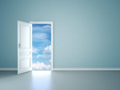 Fototapeta Room interior with open door to blue sky