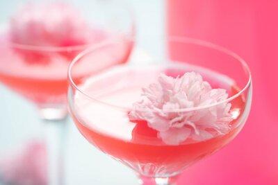 Fototapeta Rosé cocktails  with a flower garnish