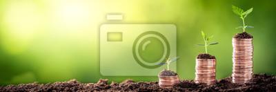 Fototapeta Rostoucí peníze - závod na mincích - finanční a investiční koncept