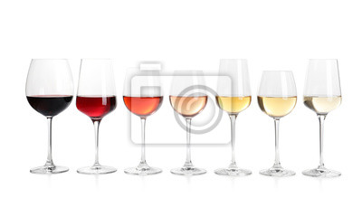 Fototapeta Row of glasses with different wines on white background