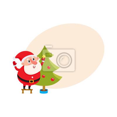 Roztomile A Vtipne Santa Claus Zdobeni Vanocni Strom Kresleny