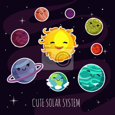 Roztomile A Zabavne Kreslene Planety Samolepky Solarniho