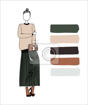 Fototapeta Roztomilé barevné ručně kreslená módní Ilustrace s krásné ženy  nosí stylové oblečení Designer faab5457a2