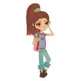 Roztomilé barevné vektorové ilustrace módní dívka s roztomilé módní dítě nosit  stylové oblečení 3113deb7e9