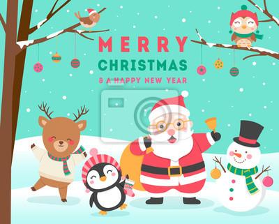 Roztomile Kreslene Zvirata A Santa Claus Pro Vanocni A Novy Rok