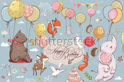 Fototapeta roztomilé zvířata létání s balónky