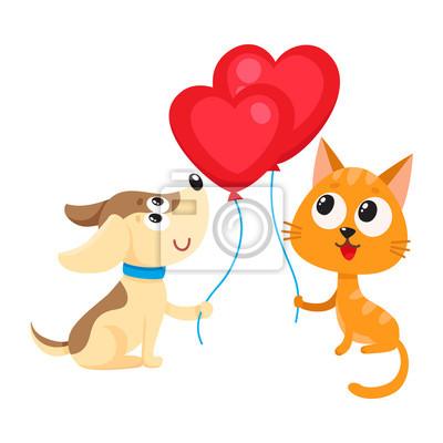 Roztomily A Legracni Pes A Kocka Drzi Cervene Srdce Ve Tvaru