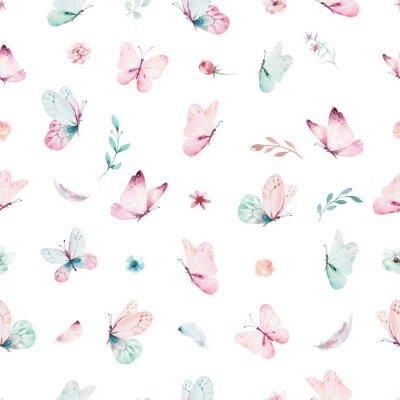 Fototapeta Roztomilý akvarel jednorožce bezproblémové vzorek s květinami. Princezna duhové textury. Trendy růžový kreslený poník.