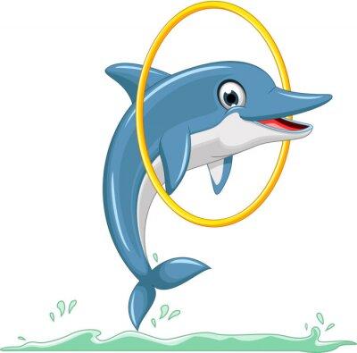Fototapeta roztomilý delfín kreslený jumping