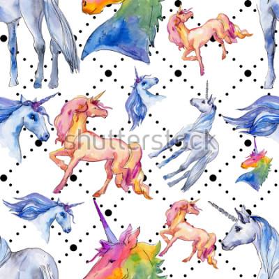 Fototapeta Roztomilý jednorožec. Pohádkové děti sladký sen. Duha zvíře roh Bezešvé vzorek pozadí. Textura tapety textilie tisknout. Akvarelové divoké zvíře na pozadí, textury, obalový vzor.