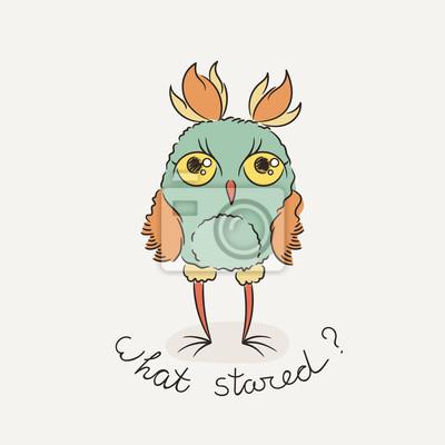 Roztomily Kresleny Sova Lovely Sovicky V Doodle Stylu Fototapeta