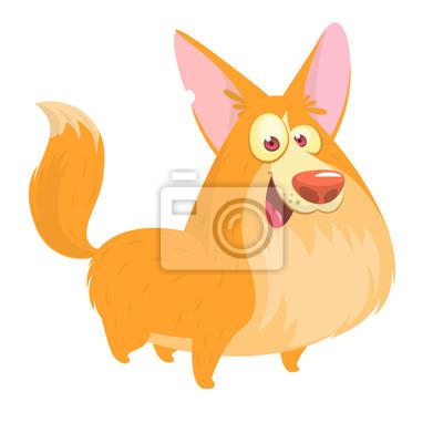 Fototapeta Roztomilý kreslený vektorový výkres psů hlavy plemene Corgi.  Obrázek izolovaných na bílém a8ce5c4aa4