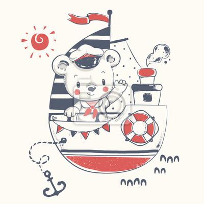 Roztomily Medveda Namornik Na Lodi Kreslene Rucne Kreslene Vektorove