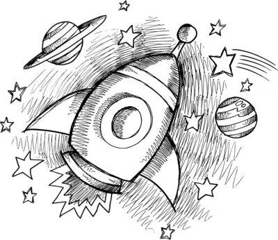 Fototapeta Roztomilý Outer Space Rocket Sketch Vector