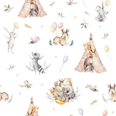 Fototapeta Roztomilý rodinný baby raccon, jelen a zajíček. živočišných žiraf, a bear isolated illustration. Akvarel boho raccon výkres školka bezešvé vzor. Dětské pozadí, školka