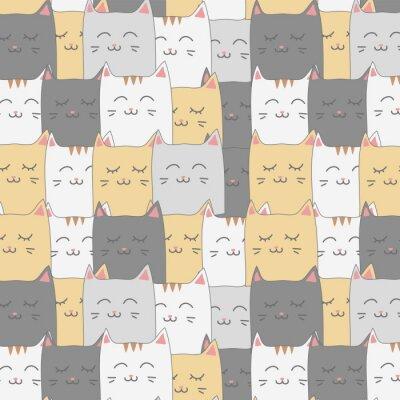 Fototapeta Roztomilý rozkošný kočka kotě bezešvé vzorek pozadí tapety