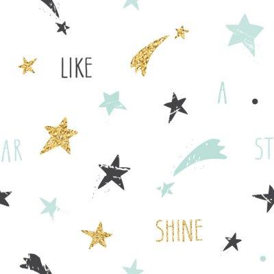 Fototapeta Roztomilý vtipné bezešvé vzor na pozadí s rukou vypracován hvězdami a inspirativní vlastnoručním citátem bot jako hvězda. Třpytky, pastelové modré a černé jiskry na bílém.