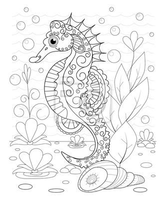 Rucne Kreslene Dekorativni More Kun Ve Vlnach Fototapeta