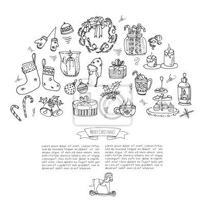 Rucne Kreslene Doodle Vesele Vanocni Ikony Nastavit Skeletove