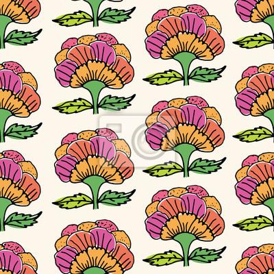 Rucne Kreslene Kvetiny Doodle Kvetinovy Bezesve Vzor Barevne