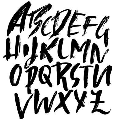 Fototapeta Ručně kreslené suché kartáčové nápisy. Grunge abeceda. Ručně psané písmo. Vektorové ilustrace.