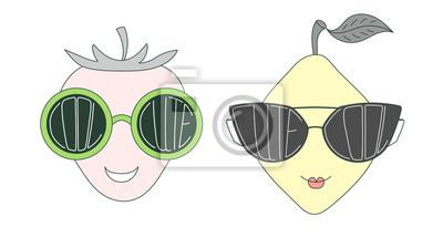 Rucne Kreslene Vektorove Ilustrace Legracni Citronu A Jahody