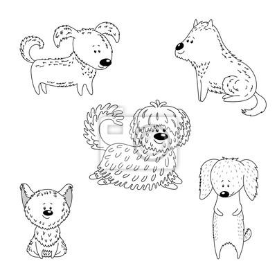 Rucne Kreslene Vektorove Ilustrace S Ruznymi Roztomile Vtipne