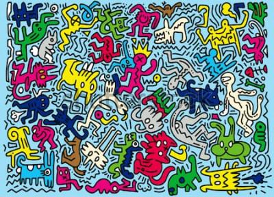 Fototapeta Ručně kreslenou vektorové ilustrace Doodle legrační zvíře, ilustrátor linie nástroje kreslení, plochý Design