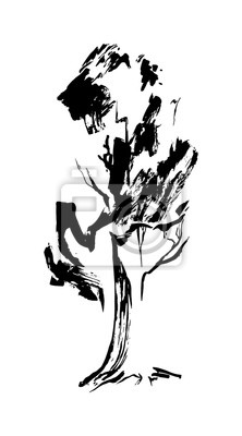 Rucne Kresleny Cerny Stylizovany Strom Namalovany Inkoust Vektor