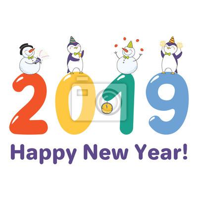 Rucne Kresleny Stastny Novy Rok 2019 Blahoprani Banner Sablona