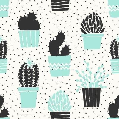 Fototapeta Ručně kreslenými Cactus Pattern