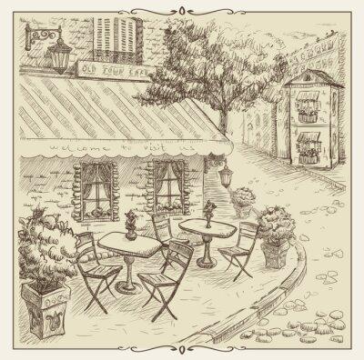 Fototapeta Ručně malovaná ilustrace, pouliční kavárny ve starém městě.