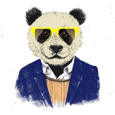 Fototapeta Ručně malovaná oblečený Hipster panda