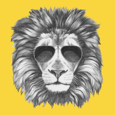 Fototapeta Ručně malovaná portrét lva se slunečními brýlemi. Vektorové samostatný prvky.