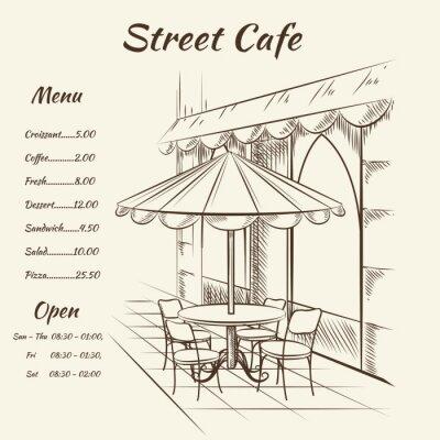 Fototapeta Ručně malovaná pouliční kavárně na pozadí