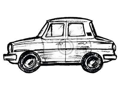 Rucne Malovana Skica Kreslene Ilustrace Modelu Auta Fototapeta
