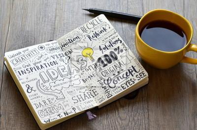 Fototapeta Ručně psaný náčrtek poznámky IDEAS v poznámkovém bloku na stůl s kávou a perem