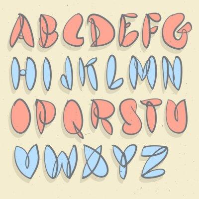 Fototapeta Ručně tažené abeceda. Ruční Broušený nenucené Bubble abeceda.