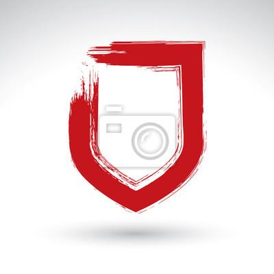 Rucne Tazene Ikona Jednoduchy Stit Stetcem Vykres Vektor