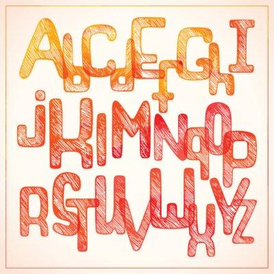 Fototapeta Ruční psaní červený abecedu