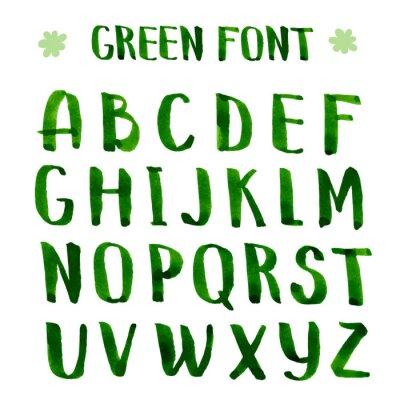 Fototapeta Ruční výroba inkoustu zelená abecedy.