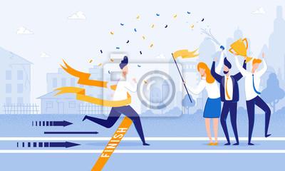 Fototapeta Running Man Crosses Finish Line. Meet Firework Man