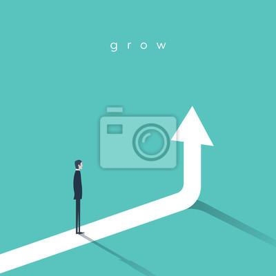 Fototapeta Růst podnikání vektor koncept s podnikatel a vertikální šipkou nahoru.