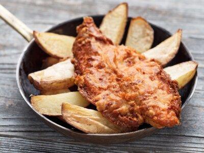 Fototapeta rustikální tradiční anglický fish and chips