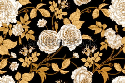 Fototapeta Růže, květiny, listy, větve a bobule psí růže. Květinový vzor bezešvé vinobraní. Zlato, nedostatek a bílé. Orientální styl. Vektorové ilustrace umění. Pro designový textil, papír, tapety.