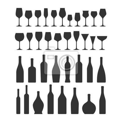 Fototapeta Různé typy sklenice na víno a láhve sady ikon. Sklenice na víno a láhev vektor černá silueta kolekce ikon.