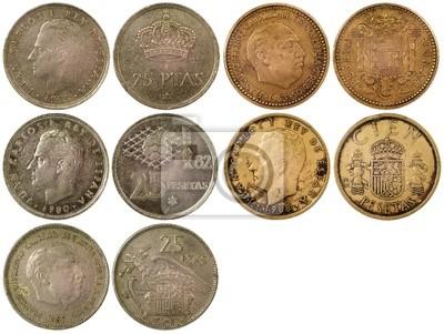 a4e1c6a21 Různé vzácné mince španělska izolovaných na bílém pozadí fototapeta ...
