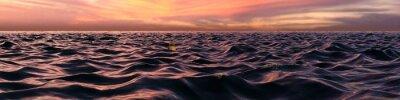 Fototapeta Růžová Sunset Panorama Over vlny oceánu