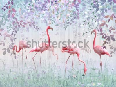 Fototapeta Růžové plameňáci v delikátní zahradě v tyrkysové mlze. Nástěnné malby a tapety pro vnitřní tisk.