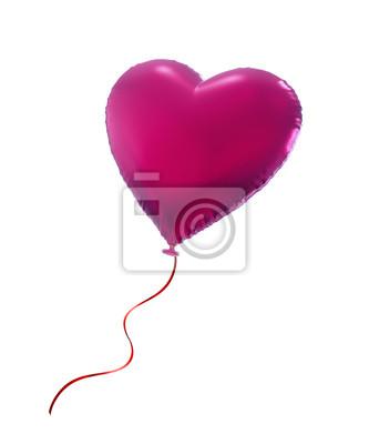 Fototapeta růžové Valentine srdce balón, 3D objekt na bílém